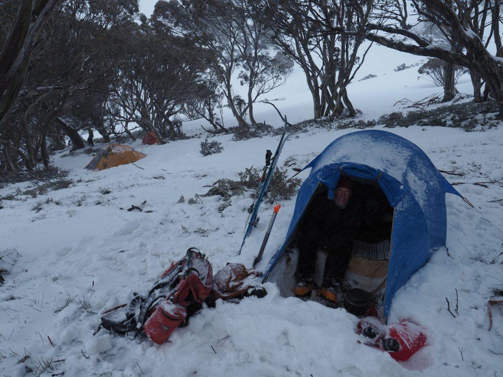Snow camping Twynam Creek New South Wales