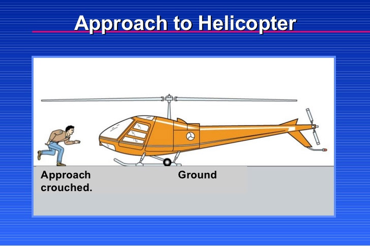 Approach to helicopter - on flat