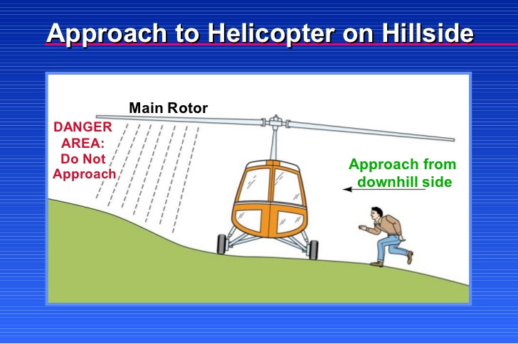 Approach to helicopter - on hillside