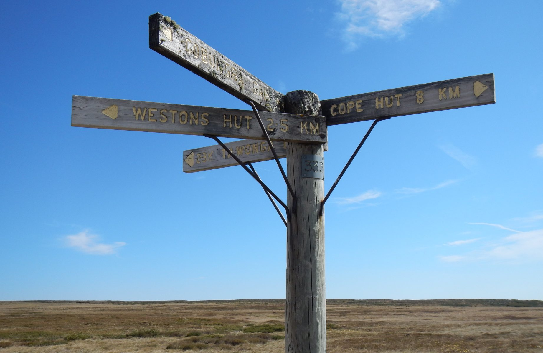 Signpost on Bogong High Plains, VIctoria