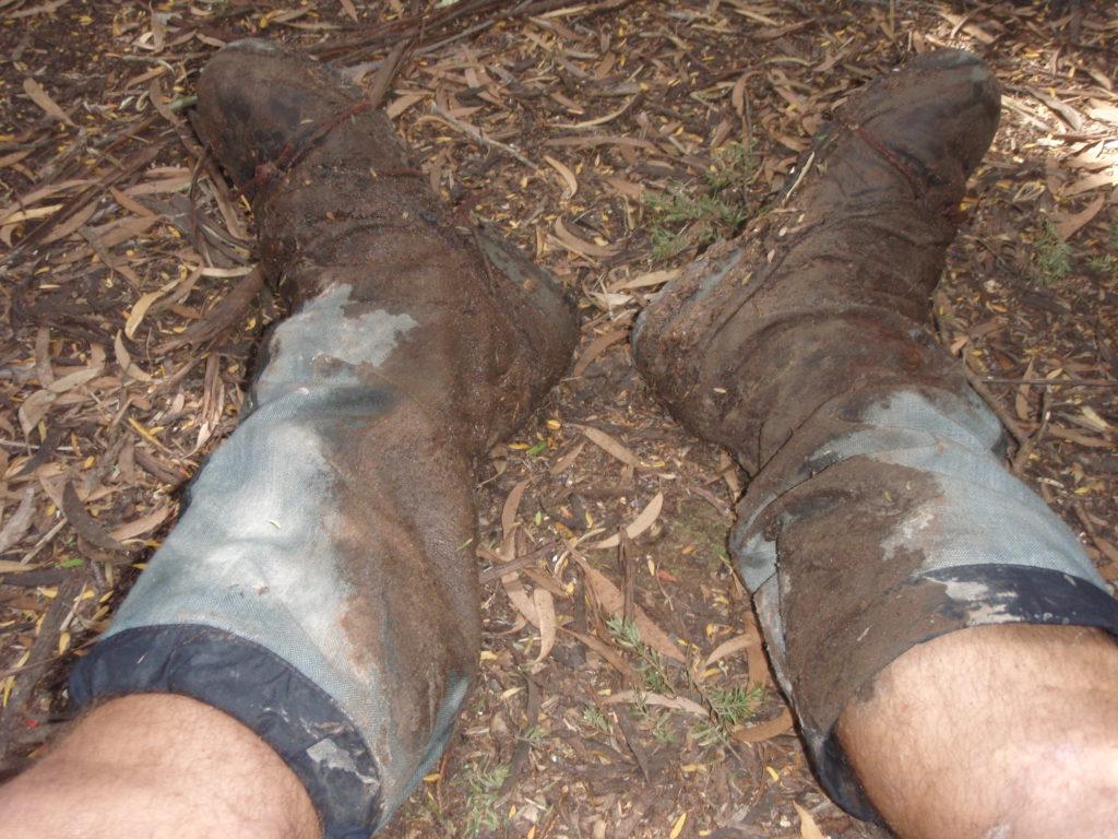 Muddy boots, South Coast Track, Tasmania